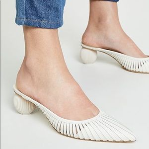 Cult Gaia Alia White Leather Mules Round Heel 40